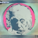 photo of Albert Einstein stencil portrait in progress
