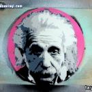 photo of Albert Einstein stencil portrait in progress