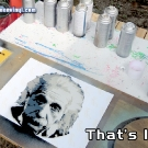 Test stencil of Albert Einstein