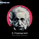 Finished Stencil art portrait of Albert Einstein