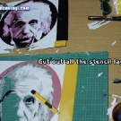 Cutting out Albert Einstein Stencil