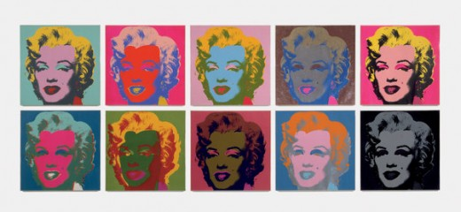 Andy Warhol Warhol's grid matrix multi-coloured display of Marilyn Monroe
