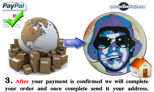 Step 3 your face on vinyl order process image. This image shows a picture of the unique custom artwork produced by YFOV which is then sent to your home address. We hope to get your order from moment of payment to your doorstep within 2 weeks of payment confirmation.