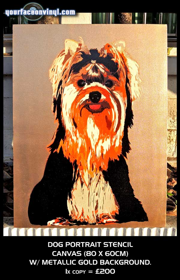 stencil of dog on gold canvas from photo