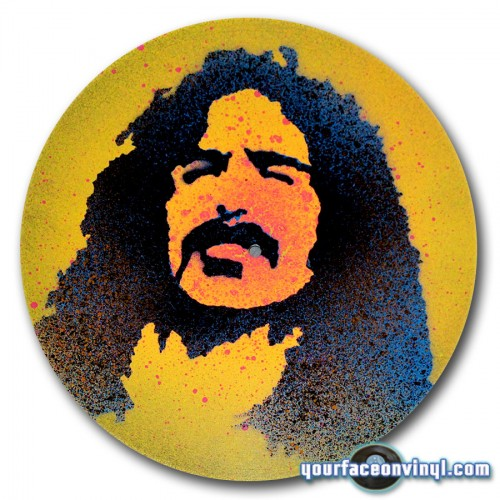 Frank Zappa photo to portrait stencil art on vinyl record