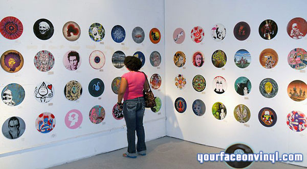 stencil art on vinyl records exhibition
