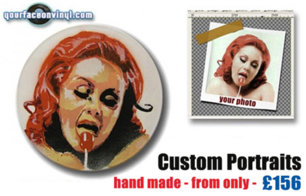 Order a stencil portrait art gift on vinyl record from 156 GBP