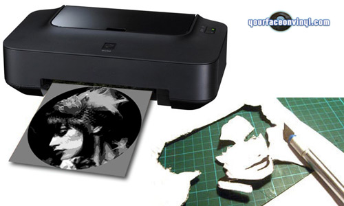 printer printing out stencils photo stencil cutting progress
