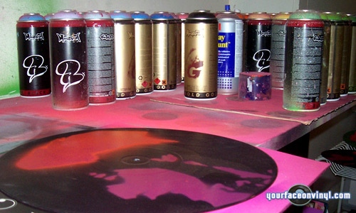 Photo showing stencil art spray paint
