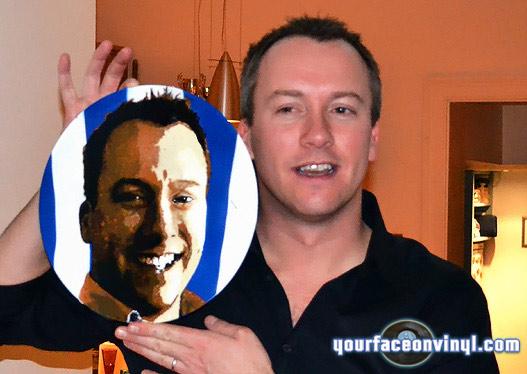 "man with stencil art portrait of himself on 12"" vinyl record"