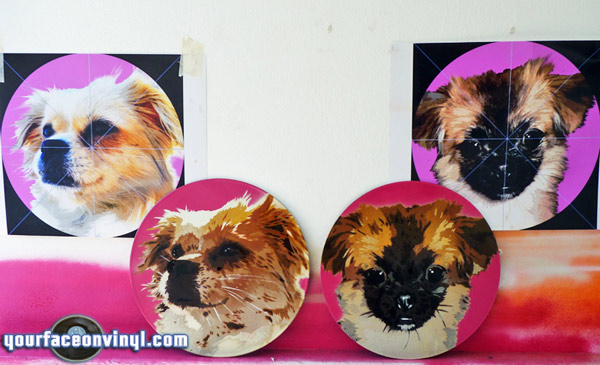 "Before and after photos of Spray paint stencil of Dog portrait on 12"" vinyl record"