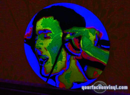 UV neon black light stencil portrait on vinyl art