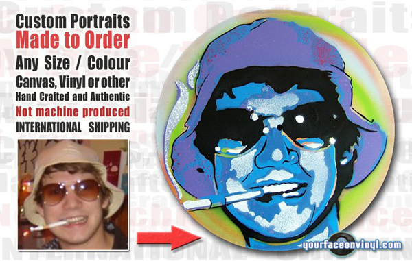 Street art style portrait art gift order before and after image of stencil art