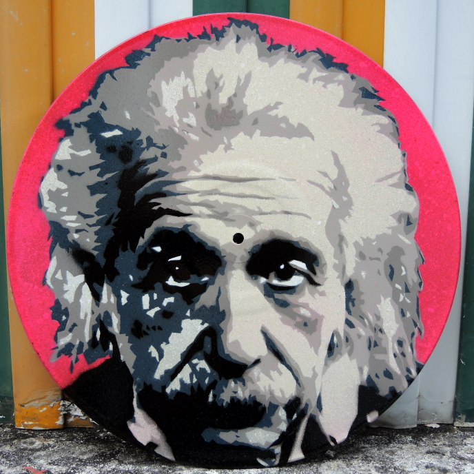 Albert Einstein Stencil Street Art Style Piece Spray Paint