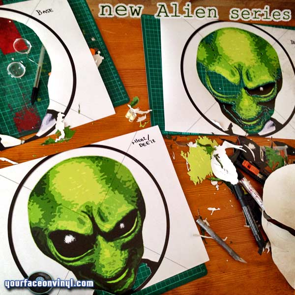 "Alien Stencil art on vinyl 12"" record stencil cutting progress"